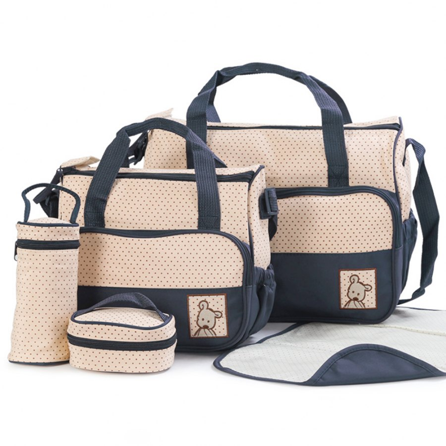 5pcs Mummy Bag Sets Baby Changing Cute Diaper Bags Portable Messenger