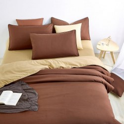 1.8M Solid color Coffee Gold Home Bedding /Duvet Cover Bed Sheet Pillowcase Set