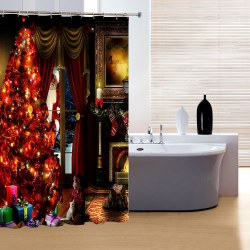150x180cm Christmas Eve Santa Claus Polyester Bathroom Shower Curtain w/12 Hooks