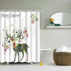 1.8*1.8 m Christmas Waterproof Cute deer Bathroom Fabric Shower Curtain white