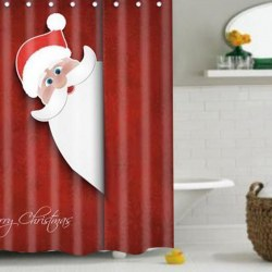 1.8*1.8m Santa Claus Peeking Christmas Funny kids Fabric Bathroom Shower Curtain
