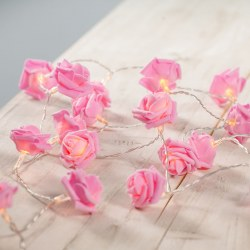 20 Pink Rose Flower Battery Operated Warm White LED Bedroom Fairy String Lights