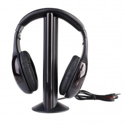 New 5 In 1 Wireless Cordless FM RF Headphones Headset with Mic for PC TV Radio