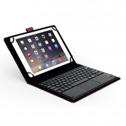 2-in-1 Wireless Bluetooth Flat Keyboard Mouse Leather Travel Cases Cover Holder