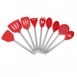 Stainless Steel Handle Silicone Kitchenware 9 Sets Kitchen Utensil Spatula