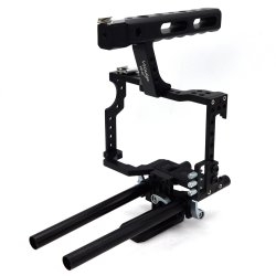 DSLR Rod Rig Camera Video Cage Kit & Handle Grip  Rod Rig Camera Cage Aluminum