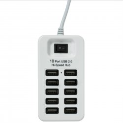 10 Ports USB2.0 HUB With Switch Support 1TB Mobile HDD  White
