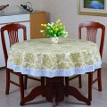 Pastoral PVC Round Table Cloth Oilproof Floral Printed Lace Edge Plastic Table