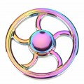 Colorful Round Rainbow Fire Wheel EDC Fidget Spinner Metal Hand Spinner for Autism and ADHD Relief Focus Stress Gift Finger Toys