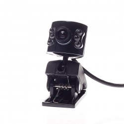 Computer camera with Six Lamp + Microphone, Black