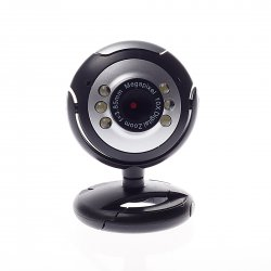 Computer camera, with 6 Lamps Microphone clip-on base Black