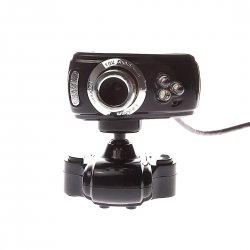 Computer camera, 3 led Lights , Clip-on base, Black