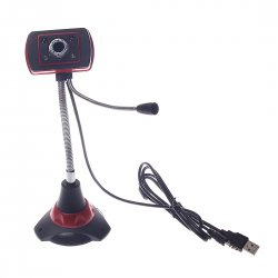 Computer camera, Hose adjuable, 4 Led + Microphone,Sucker base, Red