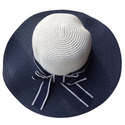 Lady Outdoor Summer Straw Hat Travel Beach Cap Foldable Brim  Navy Blue