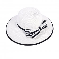 Lady Outdoor Summer Straw Hat Travel Beach Cap Bow Decorated  White