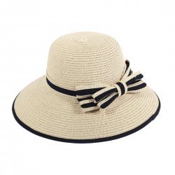 Lady Outdoor Summer Straw Hat Travel Beach Cap Bow Decorated  Beige