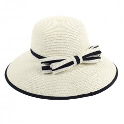 Lady Outdoor Summer Straw Hat Travel Beach Cap Bow Decorated  Milk White