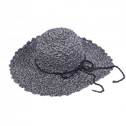 Lady Outdoor Summer Straw Hat Travel Beach Cap  Black