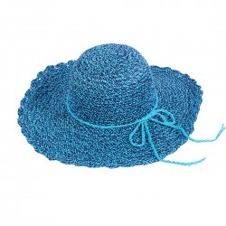 Lady Outdoor Summer Straw Hat Travel Beach Cap  Lake Blue