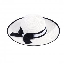Lady Outdoor Summer Straw Hat Travel Beach Cap Foldable Brim  White