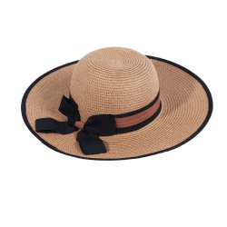 Lady Outdoor Summer Straw Hat Travel Beach Cap Foldable Brim  Khaki