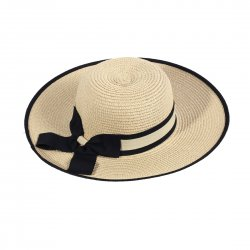 Lady Outdoor Summer Straw Hat Travel Beach Cap Foldable Brim  Beige