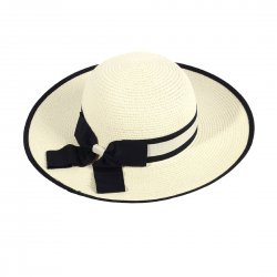 Lady Outdoor Summer Straw Hat Travel Beach Cap Foldable Brim  Milk White
