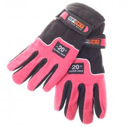 Bike Bicycle Cycling Winter Anti-slip Glove Fleeces Pink with Black