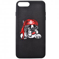 Protective Phone Case for iPhone7 4.7'' 3D Delicate Embroidery Pattern Pirate Puppy