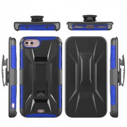 Protective Phone Case For iPhone7 4.7'' 3 in 1 Armor Series With Holder X Shape Back Clamp Blue