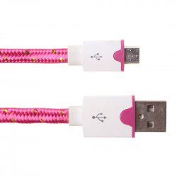 Android Phones Data Cable Nylon Woven Cable Golden Edge Micro USB Port 2m Rose Red