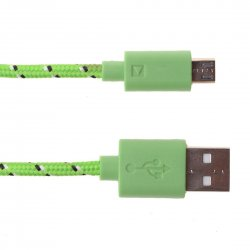 Android Phones Data Cable Nylon Woven Cable Micro USB Port 1m Green
