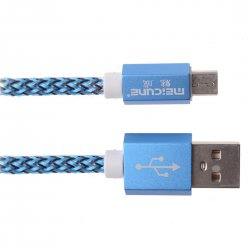 Android Phone Micro USB 8pin Colorful Woven Data Cable Metal Shell 1m Blue