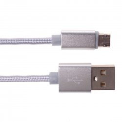 Android Phone Reversible Use 2A Woven Aluminum Alloy Data Cable 1m Silver