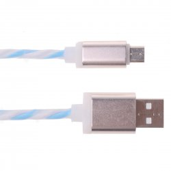 Android Phone Rainbow Spiral Data Cable 1m 2A Blue+White