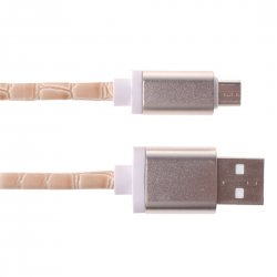Android Phone Artificial Leather Stitching Data Cable 2A 1m Camel
