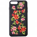 Protective Phone Case for iPhone7 Plus 5.5'' 3D Delicate Embroidery Pattern Red Flower