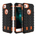 Protective Phone Case For iPhone7 4.7'' 3 in 1 Tire Grain Series Anti-slip Orange