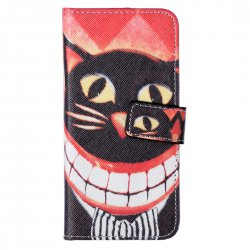 Phone Case For iPhone6/6S Color Painting Leather Phone Case Big Mouth Cat