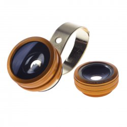 2 in 1 Phone Camera Lenses Fish Eye+0.67X Super Wide Angle Lens Golden
