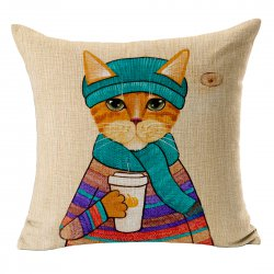 Home Decor Cotton Linen Blend Pillow Case Cover Cushion Cover Creative Cute Cat Pattern Printed