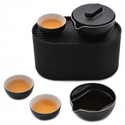 Chinese Kung Fu Tea Set Portable Travel Tea Pot Cups Ceramics Natural Mineral Sandstone Glaze