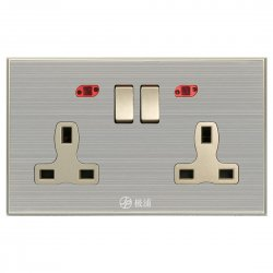 13A Wall-Mount Socket Panel Two Outlets+Two USB Ports with Indicator Light British Standard