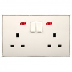 13A Wall-Mount Socket Panel Two Outlets with Indicator Light British Standard White