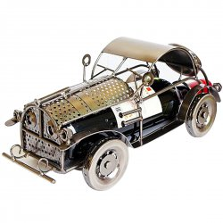 Creative Home Decoration Vintage Classic Car Pattern Wine Rack Silver Gray