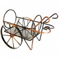 Creative Home Decoration Vintage Trolley Pattern Stainless Steel Wine Rack Bronze