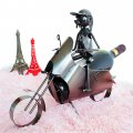 Creative Home Decoration Motorcycle Pattern Stainless Steel Wine Rack Silver