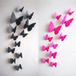 (12 / package)Room Wallpaper Decals Sticker Stereoscopic Butterfly Picture Rose Red