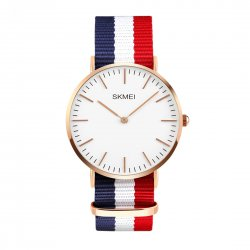 Man's Business Watch Golden Dial Plate Waterproof Watch Nylon Blue+White+Red Watchband