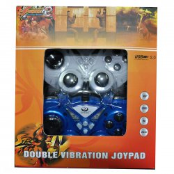 PC Wired 2 Dual Vibration Motors Pairs Game Controllers  White and Blue